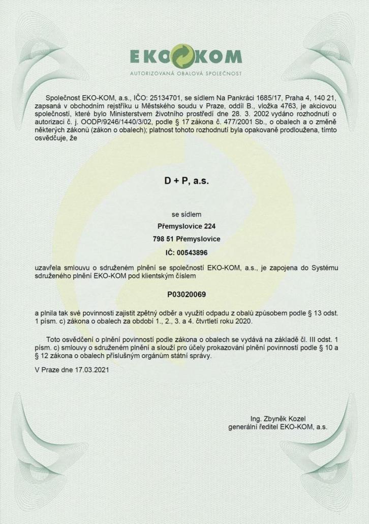 Certifikát EKO-KOM 2021
